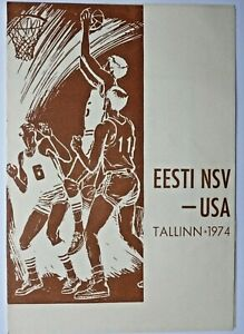 Basketball Programme team USA Tournament in USSR 1974 Soviet Estonia versus USA