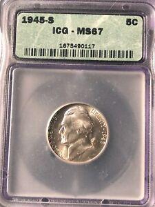 1945 S Silver Jefferson World War II Nickel ICG Graded MS67 Bright White #0117