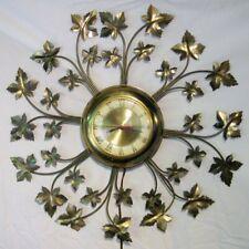 "Vtg United Brass Wall Clock Model No. 20 Electric Brass Leaves Sunburst 22"""