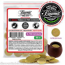 "50 Beamer Brass Metal Herbal  Smoking Pipe Screens .750"" 3/4""Compr2 Glass, Steel"