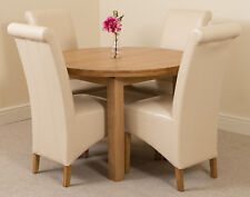 Edmonton Solid Oak Wood Oval 110 - 140cm Extending Dining Table & Leather Chairs Montana 6 Ivory Ws884 My-8053 Ivory6