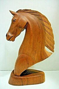"""12"""" Hand Carved Wooden Horse Head Bust - Western Equine Statue Sculpture Art"""