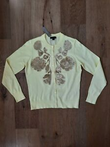 J. Crew Sequin Floral Embroidered Jackie Cardigan Sweater Embellished Size M NWT