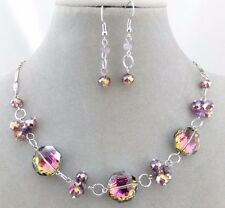 Fashion Jewelry Necklace Set Sparkly Glass Purple Bead Silver NEW
