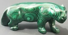 Vintage African Congo Hand Carved Natural Green Malachite Lioness Statue