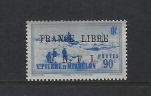 ST. PIERRE & MIQUELON - #238 - FRANCE LIBRE FNFL OVERPRINT MINT STAMP MNH
