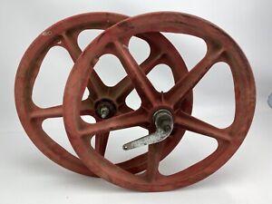 "SKYWAY Tuff wheel I Red Mag Wheel Set 20"" BMX 70s 80s Coaster Brake"