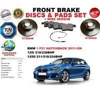 FOR BMW 125 F21 HATCHBACK 2011- 312MM FRONT BRAKE DISCS SET + PADS KIT + SENSOR