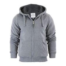 Mens Hoodie Brave Soul Zone Sherpa Fleece Lined Zip up Hooded Sweater Grey Marl Large