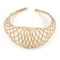 Statement Wired Choker Necklace In Gold Tone Metal
