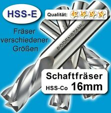 16mm Fräser L=92mm Z=2 HSS-Co Schaftfräser für Metall Kunststoff Holz etc