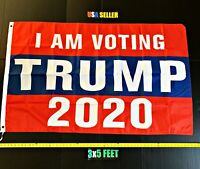 Donald Trump 2020 Flag FREE FIRST CLASS SHIP I Am Voting Trump USA New ONE SIDED