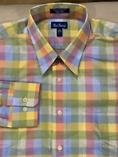 Paul Fredrick Mens Multicolor Plaid Dress Shirt Size:Large 100% Cotton NWOT