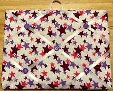 French Bulletin Board Photo Memo Board White Purple Star Print 7.08 x 9.4 inches
