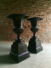 Fabulous Antique Cast Iron Garden Urns Pair Planters Very Tall 20th Century