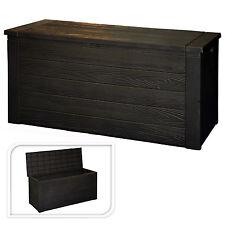 300L BLACK PLASTIC GARDEN STORAGE BOX WATERPROOF PATIO FURNITURE OUTSIDE CUSHION