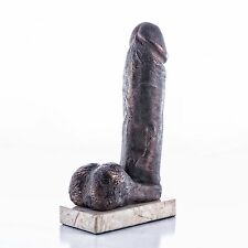 Erotic Bronze Study of a Penis Sculpture on a Marble Base. Art, Gift, Ornament.