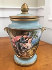 Blue Decorative Painted Urn with Gold Trim and Lid