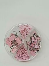72 Pc Pink Binder Clips Paper Clips Push Pins Set Box For Office Home School