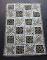 Vintage white Irish linen table topper  - dark Lefkara hand embroidery.