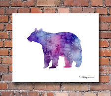 Purple Bear Abstract Watercolor Painting 11 x 14 Art Print by Artist DJ Rogers