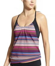 Athleta Womens Size 32 B/C Purple Capri Stripe Blousy Tankini Tank Top NWT