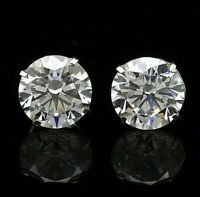 5.00 Ct. Round 14k White Gold Stud Earrings w/Push back Pierced 9mm Great Deal