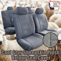 Cool Grey Sheepskin Velour Airbag Car Seat Cover For Holden EQUINOX LS LT LTZ