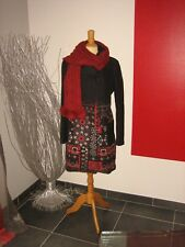 MAGNIFIQUE MANTEAU BRODé EMBROIDERED COAT DESIGUAL T 46 UK 18 + ECHARPE LAINE