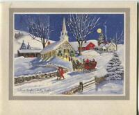 VINTAGE CHRISTMAS SILENT NIGHT FULL MOON STARS CHURCH HORSE SLEIGH GREETING CARD