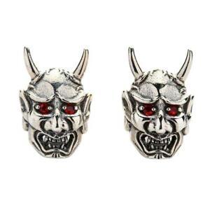 Red Eyes Japanese Skull Oni Mask Earrings