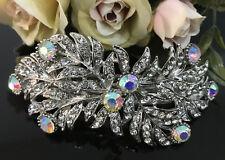 Sparkling Silver tone clear rhinestone crystal barrettes metal hair clip ha3120m
