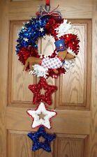 "Dachshund Patriotic Felt Sculpture 16"" Tinsel Flag 4th of July USA Wreath Stars"