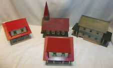 Antique Folk Art Primitive Hand Made Houses & Church Putz Christmas Train Layout
