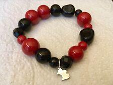 Bracelet Agatha fantaisie perles style baroque en résine rouges et noires, neuf