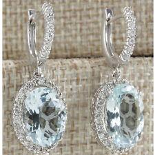 Women 925 Silver Aquamarine Topaz Dangle Drop Hoop Stud Earrings Fashion Wedding