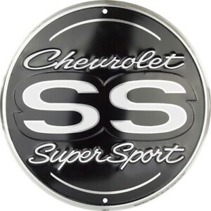 "Chevrolet SS Super Sport 12"" Round Metal Sign Garage Embossed Chevy Wall Decor"