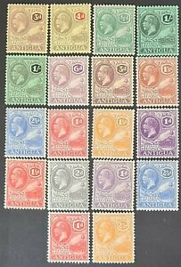 STAMPS ANTIGUA 1921-1929 SET TO 2/- MINT HINGED - #3536