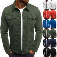 Men s Denim Jean Jacket Coat Pocket Casual Long Sleeve Cardigan Outwear Tops 4414964faf6b