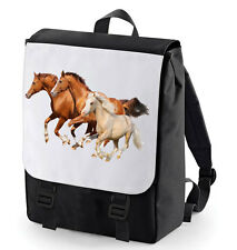 HORSES RACING BACKPACK  BAGBASE ANIMAL LOVER HORSE RIDER PONY SCHOOL BAG