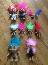 """VINTAGE LOT OF OF RUSS-ACE NOVELTY CO. """"TROLL DOLLS """". DIFFFERENT SIZES"""