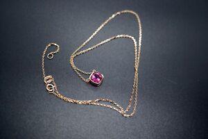 Red Tourmaline Choker Square Tourmaline Necklace 18K Rose Gold 1.15ct adjustable
