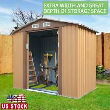 4x7x6 ft Outdoor Garden Metal Storage Shed for Utility Tool Storage Gable Roof