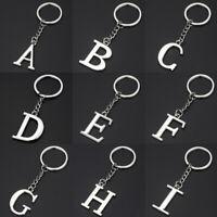 Women Men Metal A-Z Letters Key Rings Simple Alphabet Pendant Key Chain Gifts