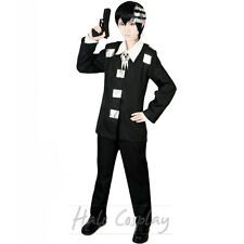 Anime New Soul Eater Death the Kids Cosplay Black Halloween Men Costume Outfit