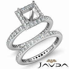 Halo Diamond Engagement Ring Princess Bridal Set Platinum 950 Semi Mount 1.28Ct