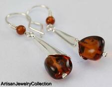 CHERRY BALTIC AMBER EARRINGS 925 STERLING SILVER ARTISAN JEWELRY COLLECTION V013