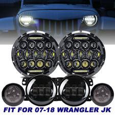 """For Jeep Wrangler JK 2007-2017 7"""" LED Headlight + 4"""" LED Fog Light+ Turn Signal"""