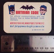 Vintage Original BATMAN Club Membership CODE Card + Crimefighter Pin - 1966 NPP