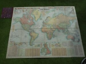 100% ORIGINAL LARGE WORLD CHART FOLDING MAP ON LINEN BY BACON C1906 VGC